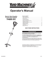 yard machine y4700 ec trimer owner manual