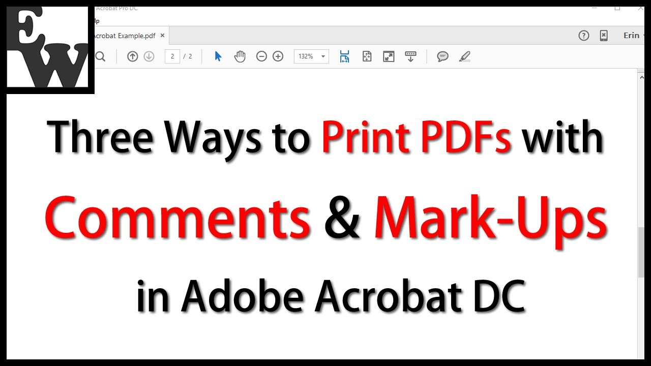 Print pdf with comments list