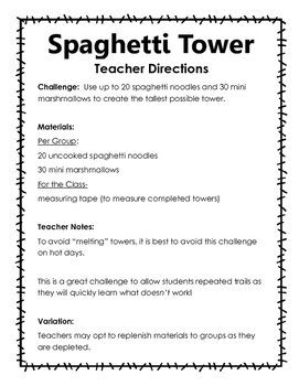 marshmallow and spaghetti tower instructions