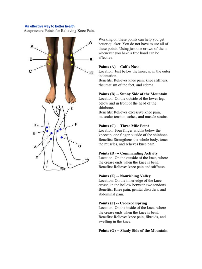 Acupressure points for knee pain pdf