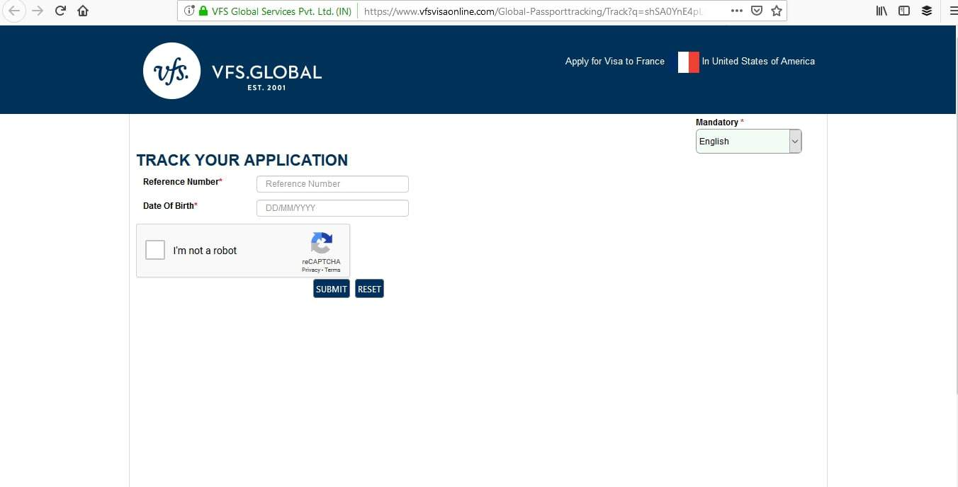 Vfs online application tracking tool france
